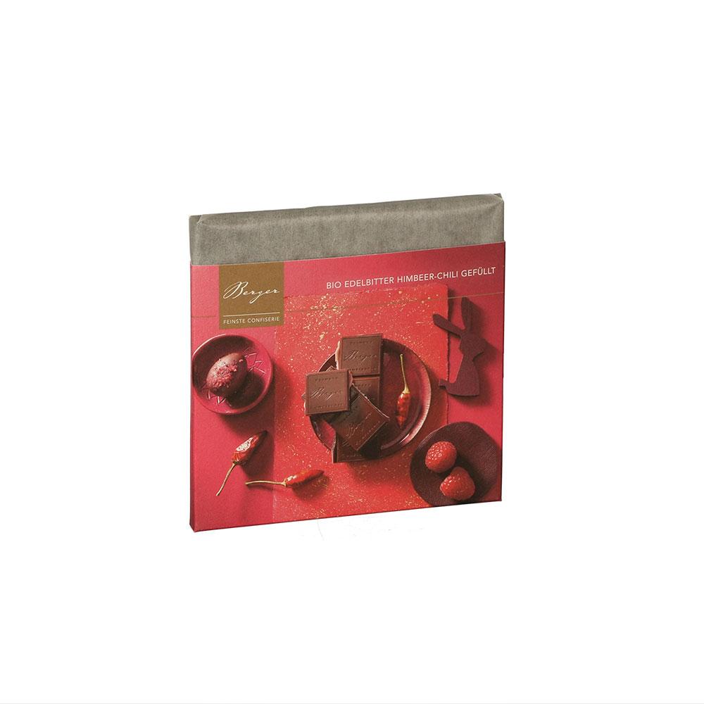 Schokoladentafel Edelbitter Himbeer-Chili gefüllt, 100 g