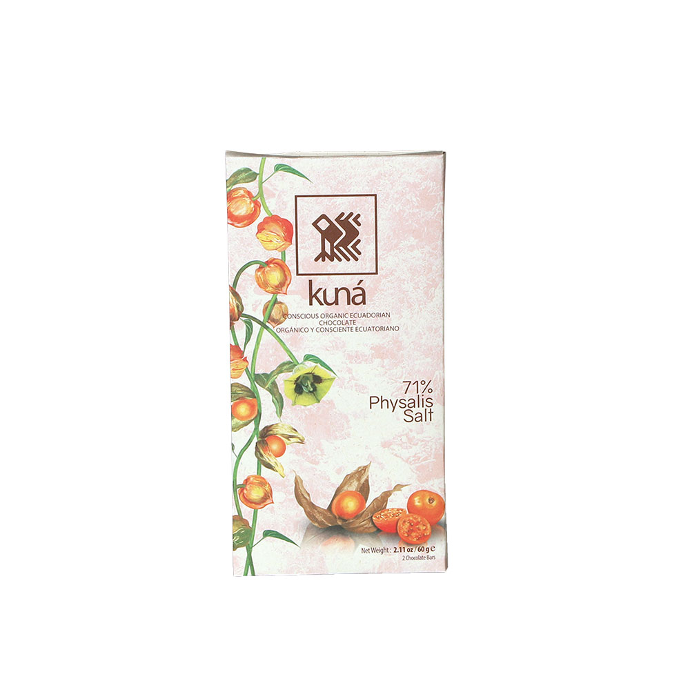 Kuná Physalis Salt, 71% - Dunkle Schokolade mit Physalis und Salz
