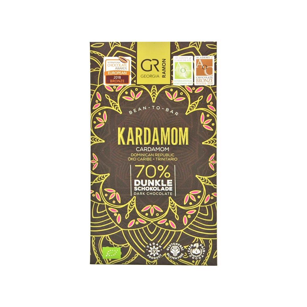 Georgia Ramon dunkle Schokolade veredelt mit wertvollem Kardamom, 70 %