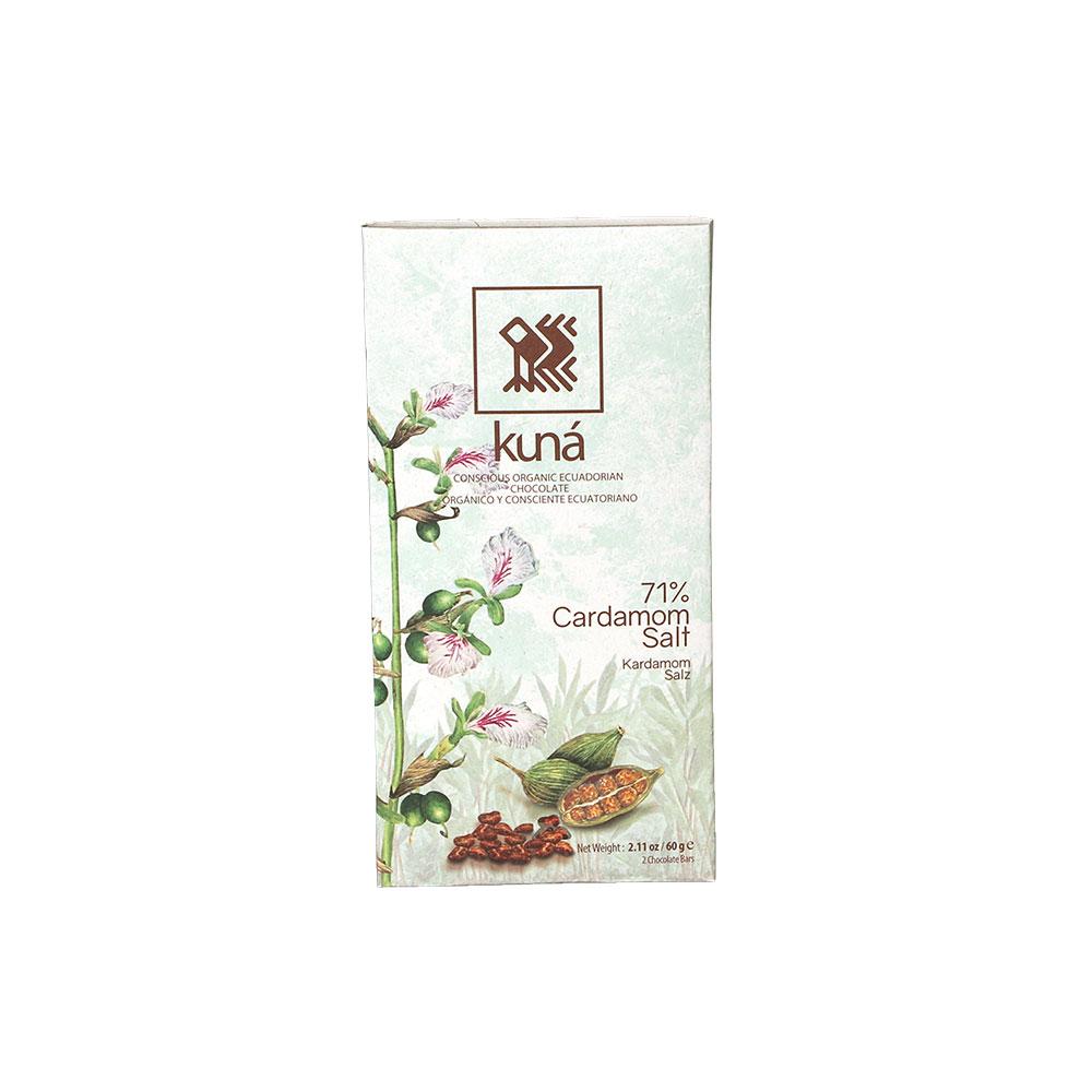 Kuná Cardamom Salt, 71% - Dunkle Schokolade mit Cardamon und Pazifik Salz