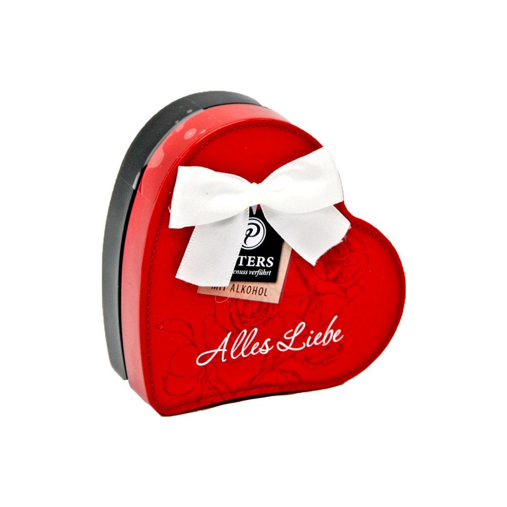 """""""Alles Liebe"""" - Pralinen in roter Herzdose mit Alkohol, 50 g"""