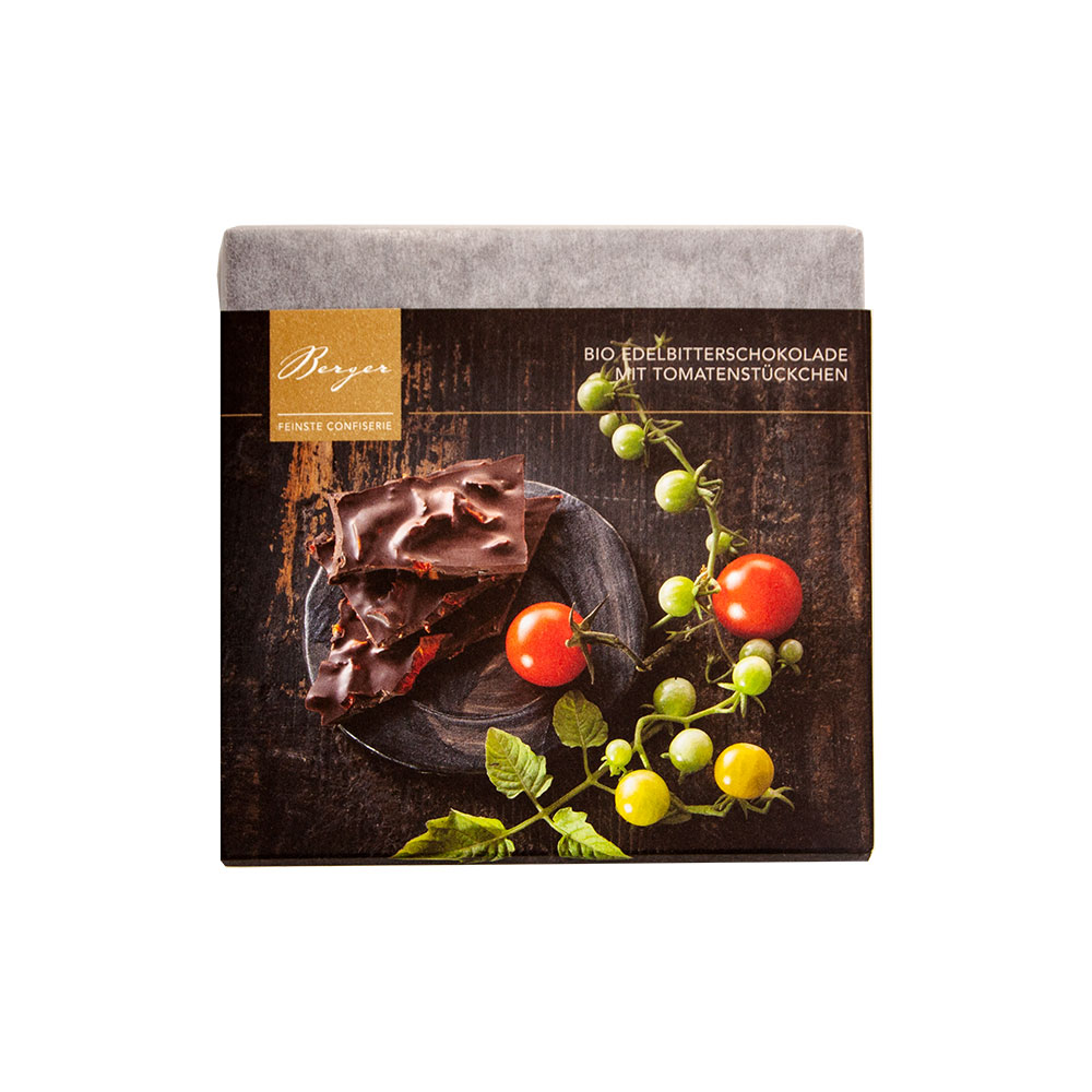 Schokoladentafel Edelbitter mit Tomatenstückchen, 90 g