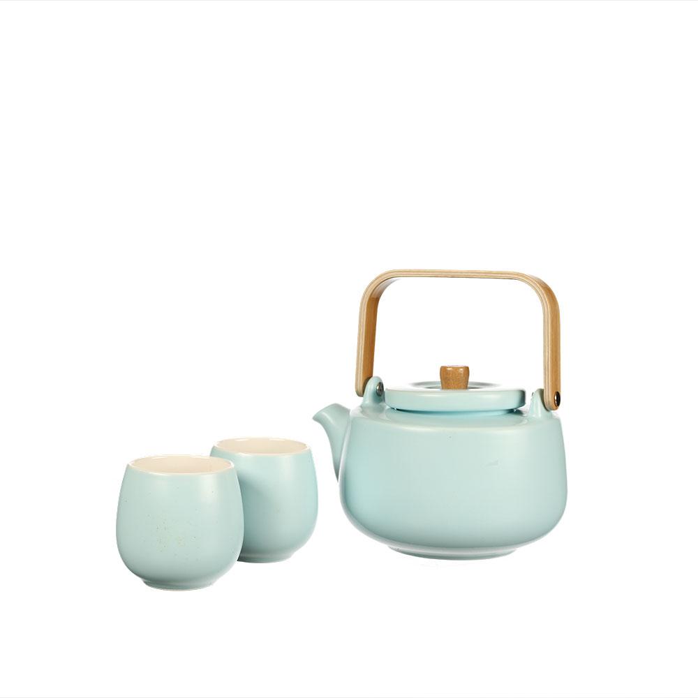 "Tee Set ""Beppo"", blau mit Bambustablett"