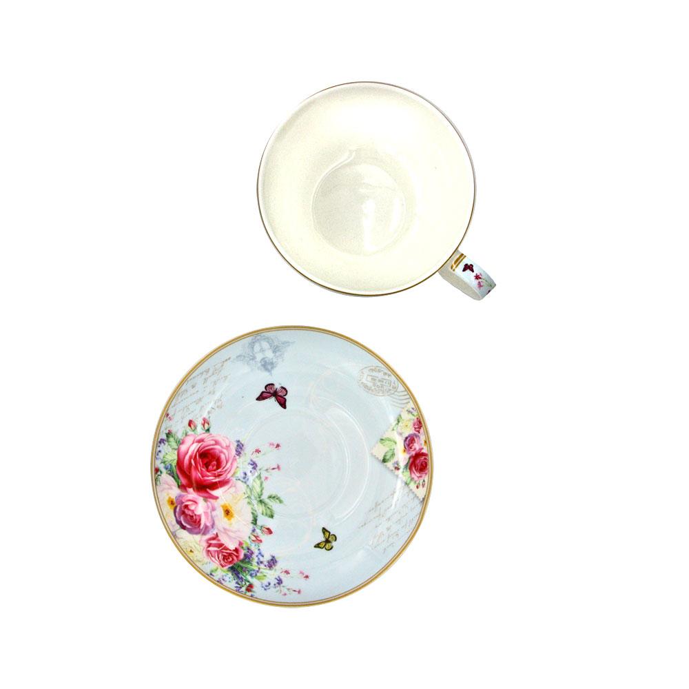 """Tea For One Set """"Queen"""" aus Porzellan mit Rosenmotiven - Teekanne, Tasse & Teller"""