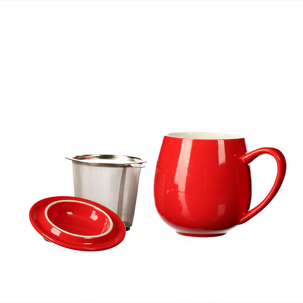 "Kräuterteetasse ""Saara"" 3-teilig, aus rot glasiertem Porzellan"