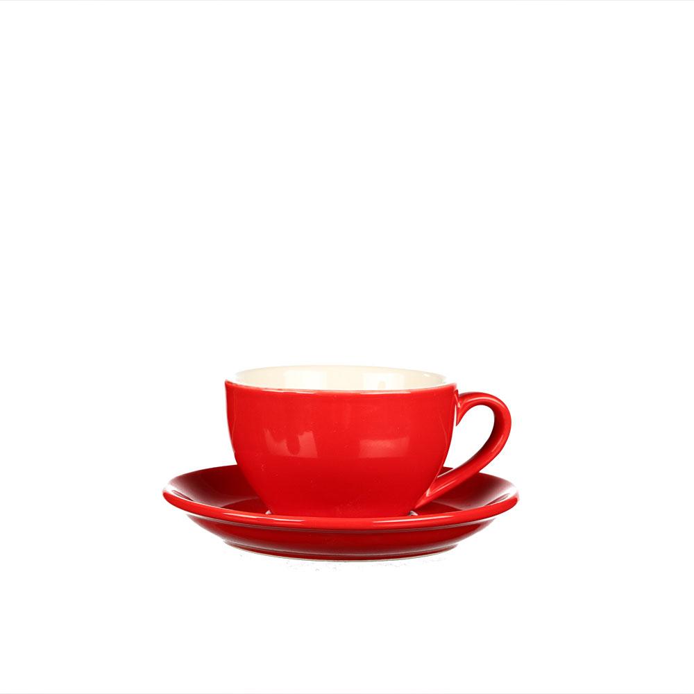 Teetasse und Untertasse aus rot glasiertem Porzellan, 170 ml