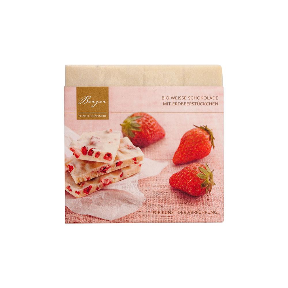 Weisse Schokolade mit Erdbeerstücken, 90 g