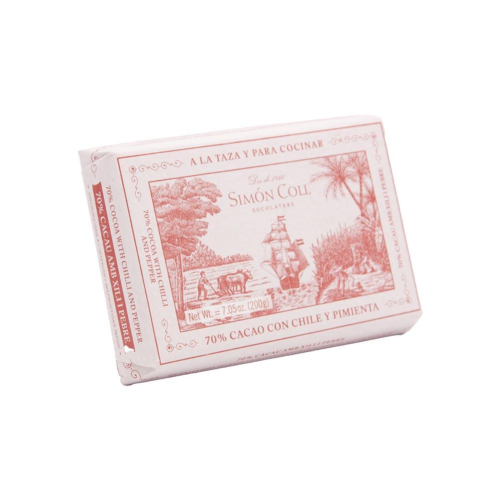 Simon Coll – Tafel Trinkschokolade 70% mit Chili & Pfeffer, 200g