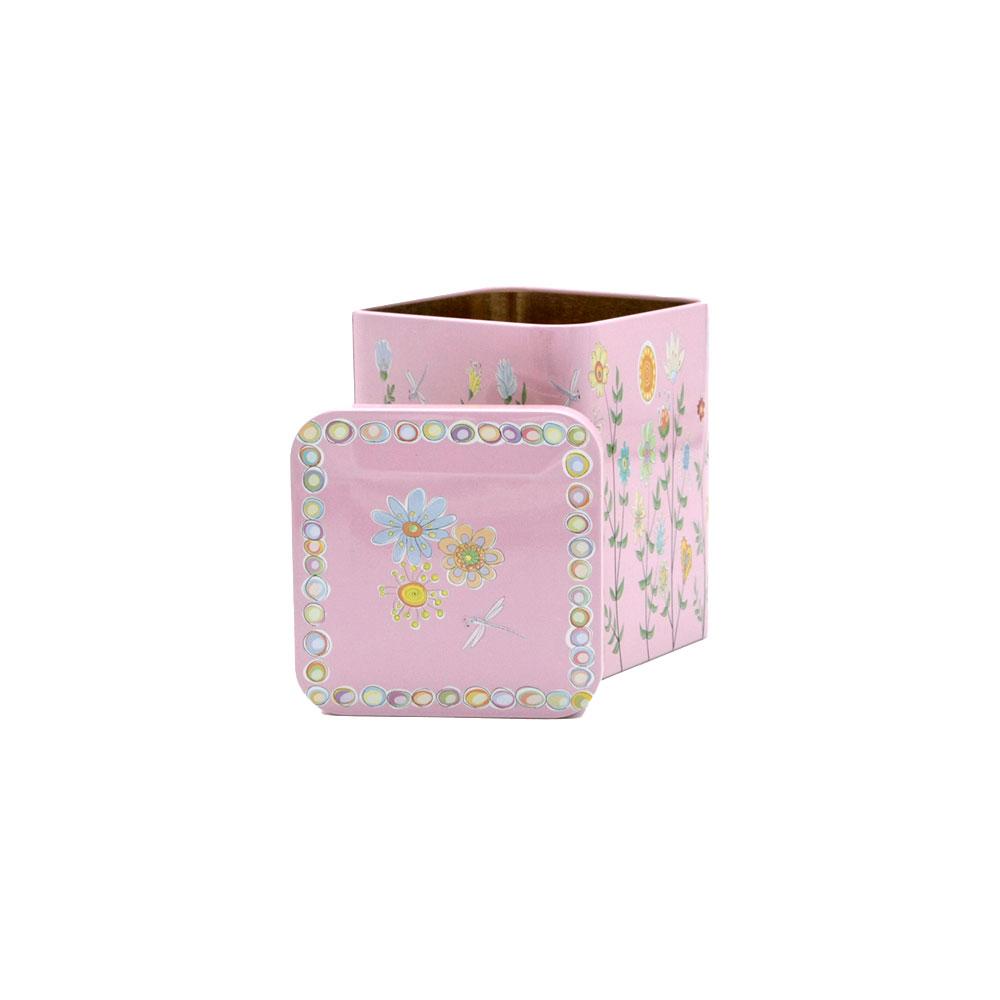 Teedose Blumenwiese mit Stülpüdeckel, eckig, 100 g