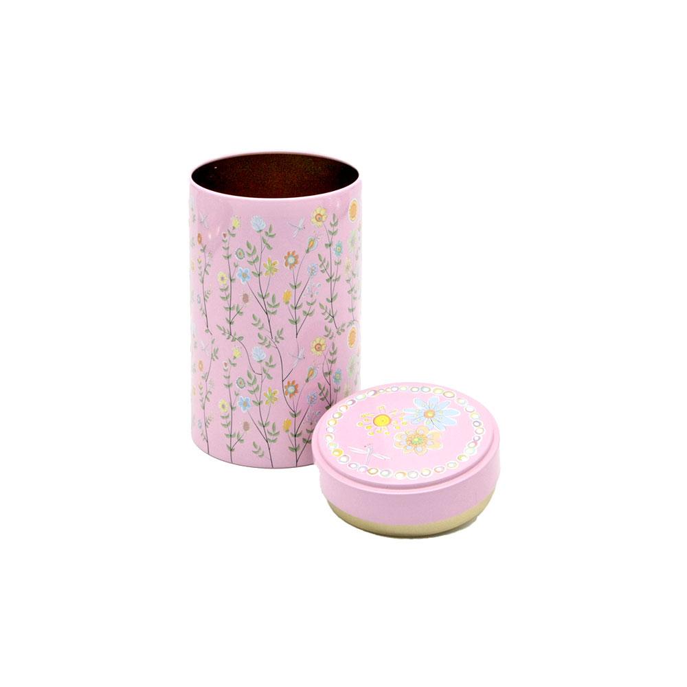 Teedose Blumenwiese mit Stülpdeckel, rund, 120g