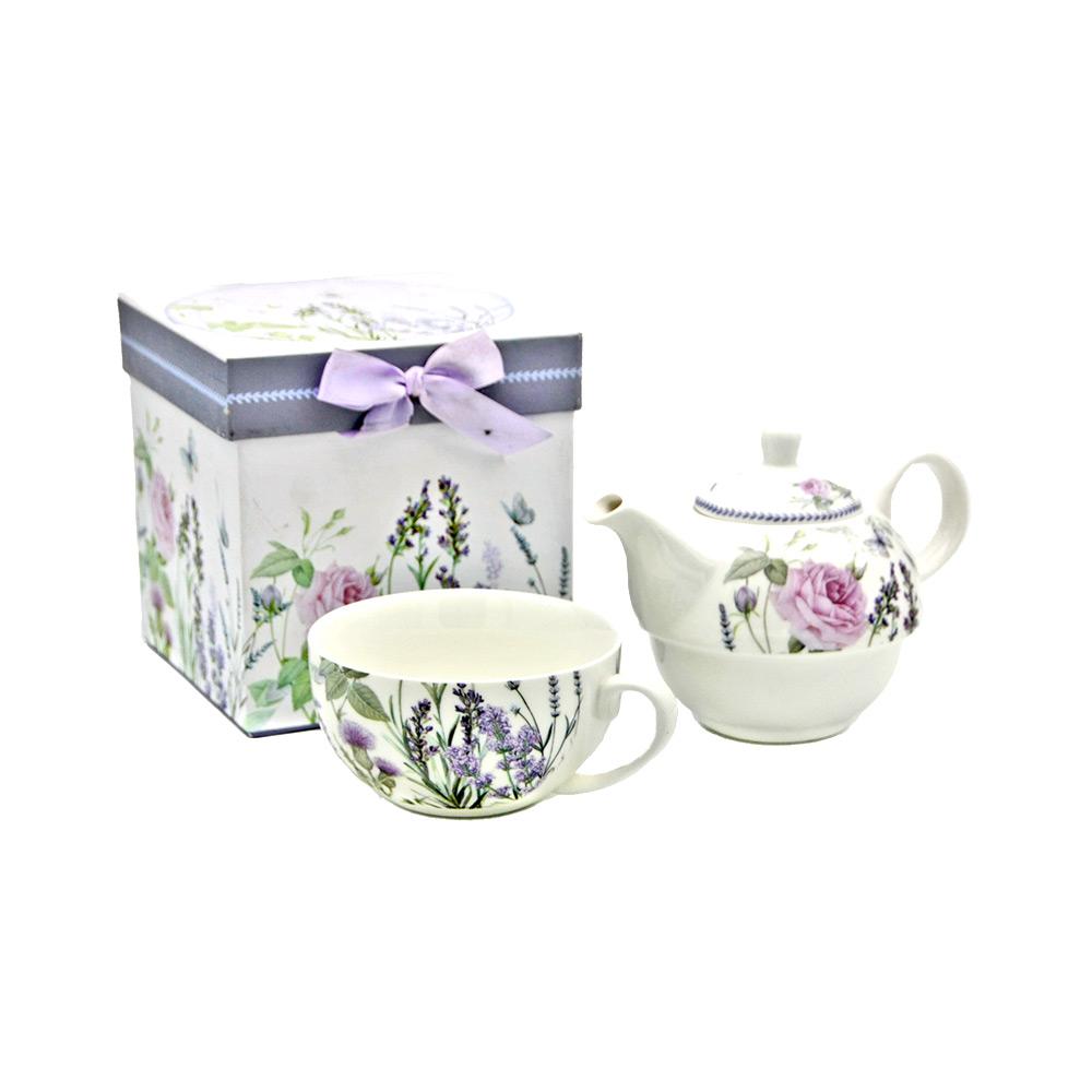 """Tea For One Set """"Lavendel & Rose"""" aus Porzellan – Teekanne und Tasse"""