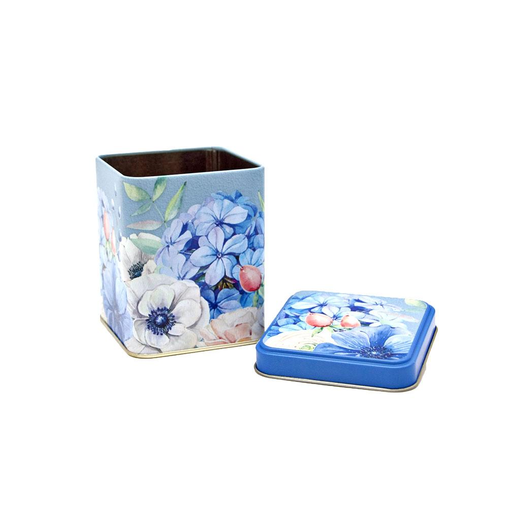 Teedose Blue Flower, eckig, 100 g