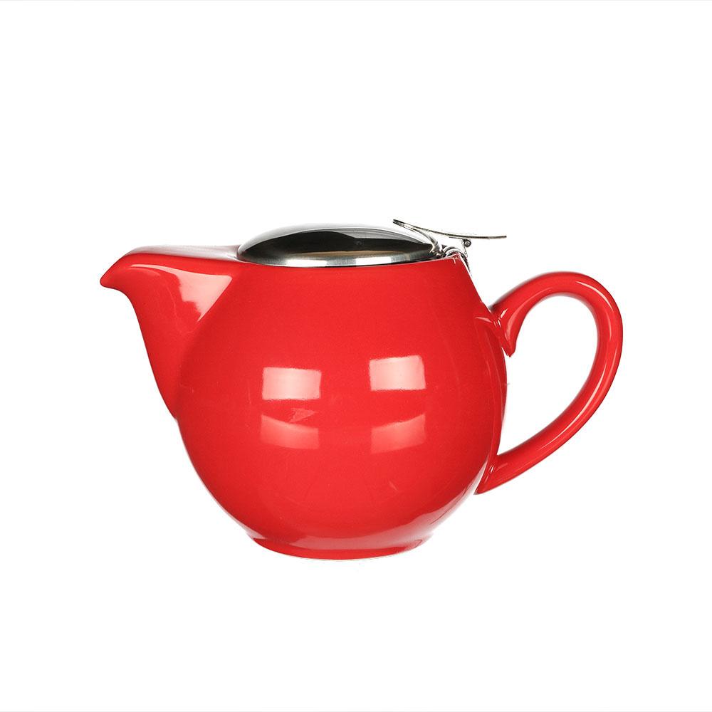 Teekanne rot glänzend, Porzellan 500 ml