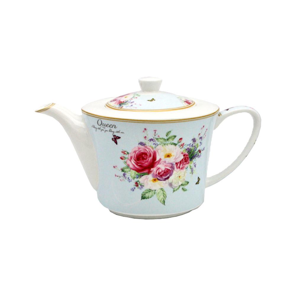 """Teekanne """"Queen"""" aus Porzellan mit Rosenmotiven"""