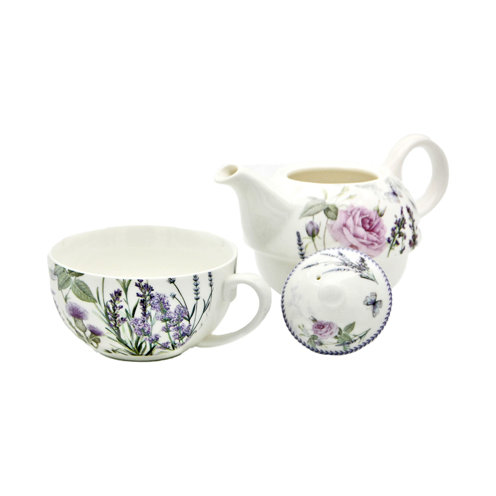 "Tea For One Set ""Lavendel & Rose"" aus Porzellan"