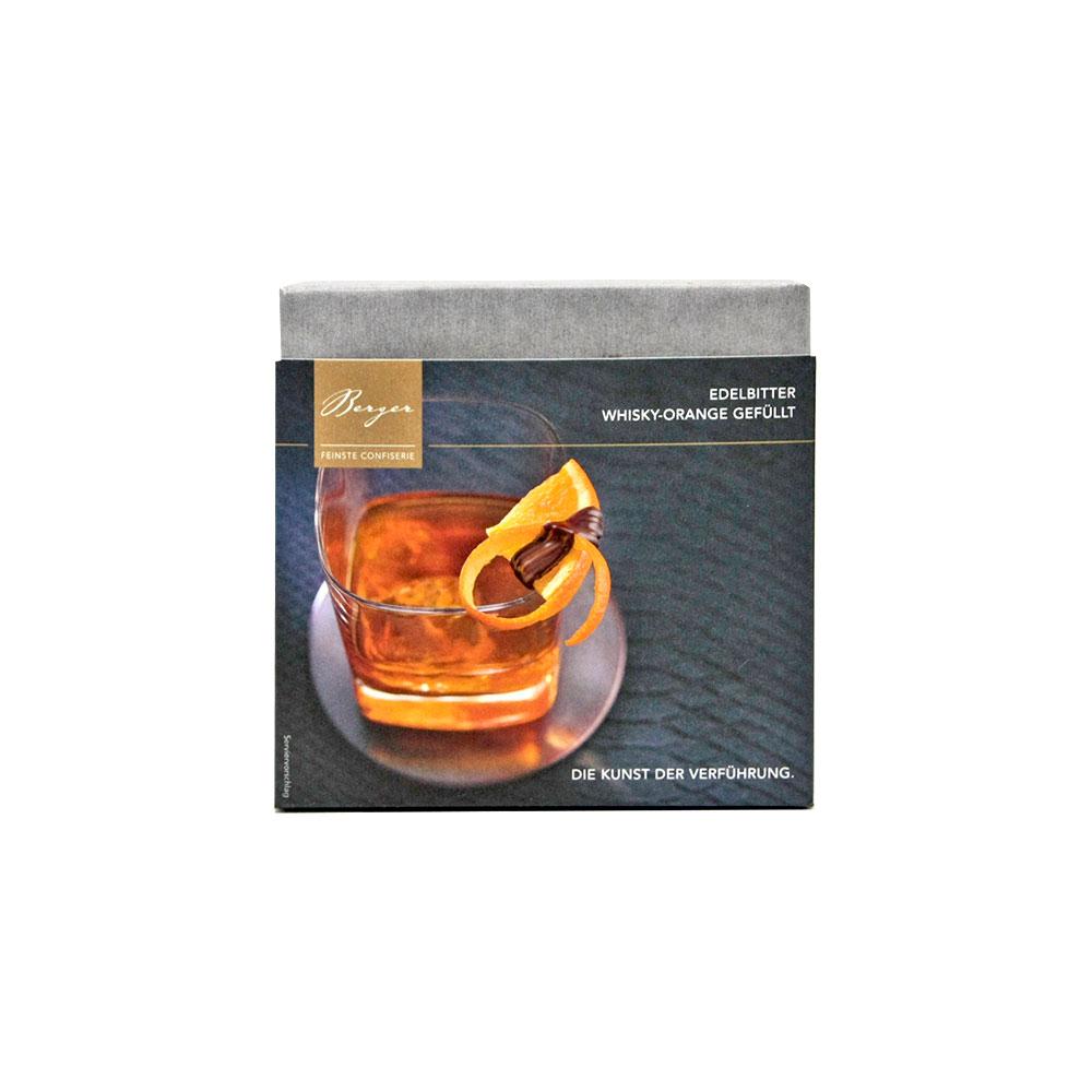 Dunkle Schokolade gefüllt mit Whisky-Orange, 100 g