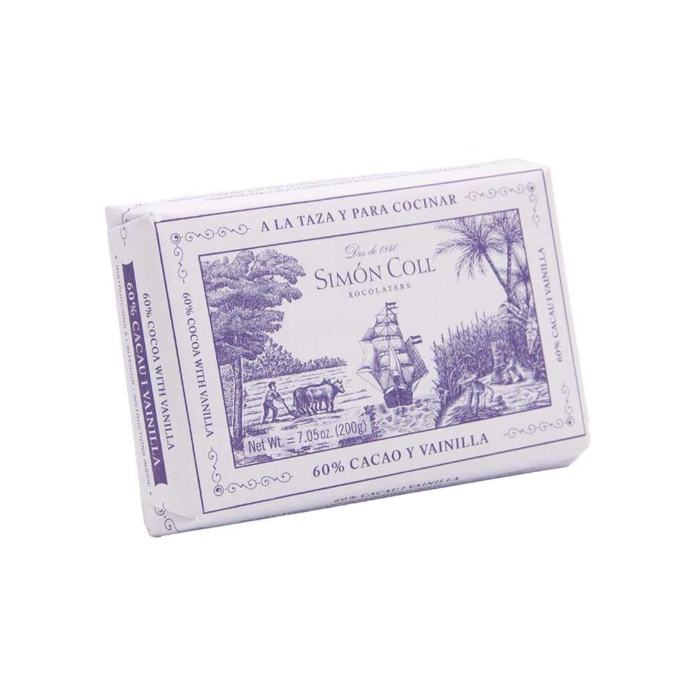 Simon Coll – Tafel Trinkschokolade 60% mit Vanille, 200g