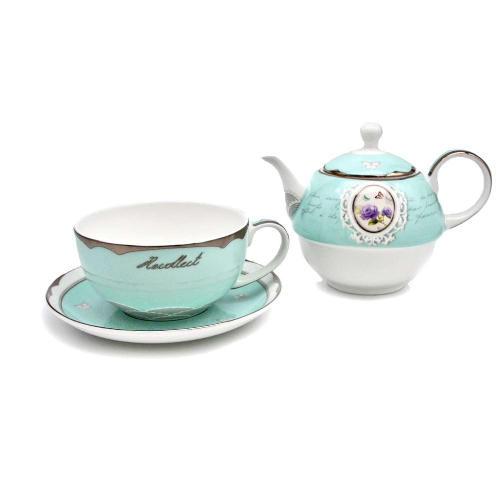 "Tea for one Set aus Porzellan ""Butterfly & Roses"""
