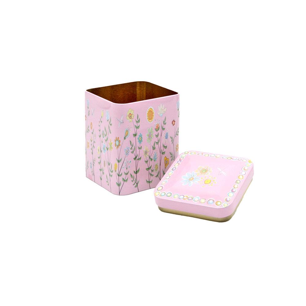 Teedose Blumenwiese mit Stülpüdeckel, eckig