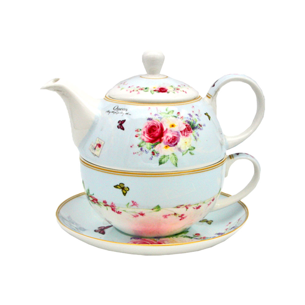 "Tea For One Set ""Queen"" aus Porzellan mit Rosenmotiven"