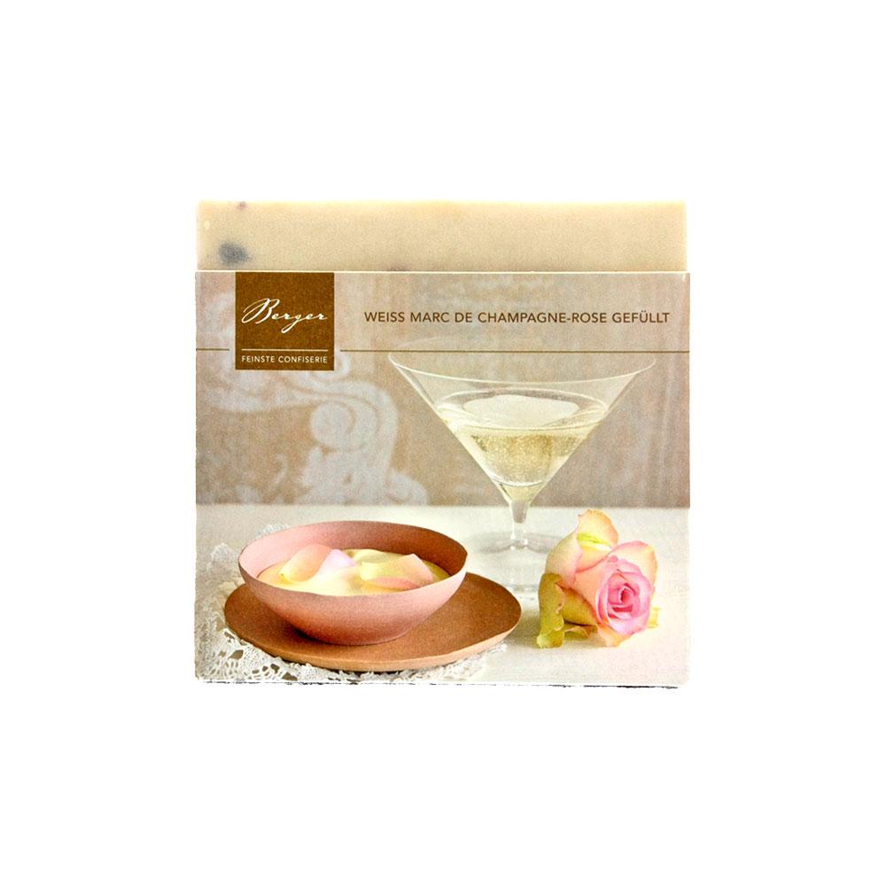 Weisse Schokolade Marc de Champagne-Rose gefüllt, 90 g